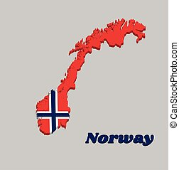 3d Map outline and flag of Norway, a white-fimbriated blue Nordic cross on a red field