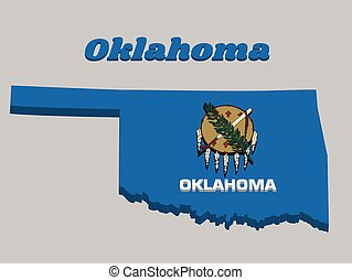 3D Map outline and flag of Oklahoma, Buffalo-skin shield with seven eagle feathers on a sky blue field
