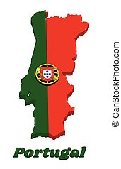 3d Map outline and flag of Portuguese, a 2:3 vertically striped bicolor of green and red, with coat of arms of Portugal centred over the color boundary.