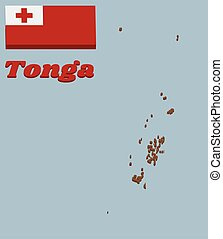 3D Map outline and flag of Tonga, A red field with the white rectangle on the upper hoist-side corner bearing the red Greek Cross in the centre.