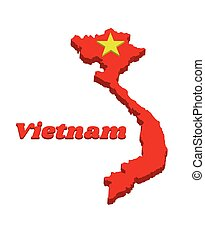 3d Map outline and flag of Vietnamese in red and yellow star