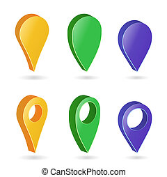 3d Map Pointer . Colorful Set of Modern Map Round Pointers. Navigator Icon Isolated On White Background With Soft Shadow
