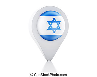 3d Map pointer Israel flag icon on white background - image...