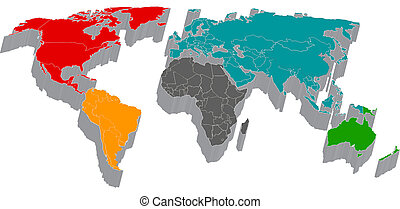 3d map with flag of the world