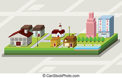 3d Map with lovely house cartoon style icon