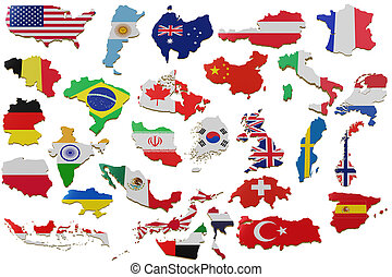 3D map with many Countries. Map of Countries land border with flag. 3d rendering