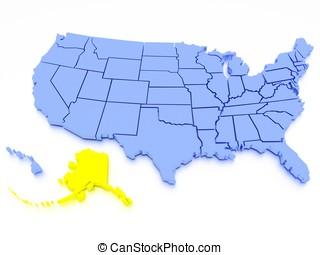 3d, mapa, de, estados unidos, -, estado, alasca