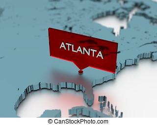 3d, mapa del mundo, pegatina, -, ciudad, de, atlanta