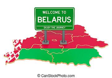 3d, mapa, interpretación, belorussian, cartelera, belarus, bienvenida