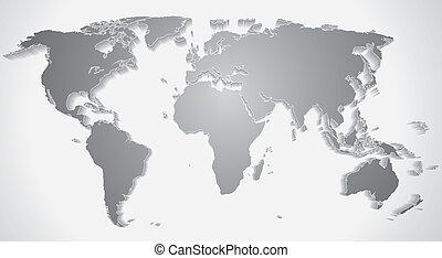 3d, mapa mundial, silhouette., vetorial, gráficos