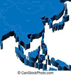 3d, mappa, di, south-east, asia