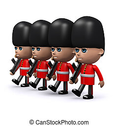 3d Marching formation of Coldstream Guards - 3d render of...
