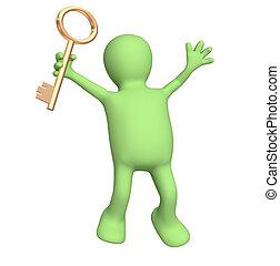 3d, marionet, holding in hand, een, gouden sleutel