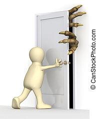 3d, marionet, sluiting, een, deur