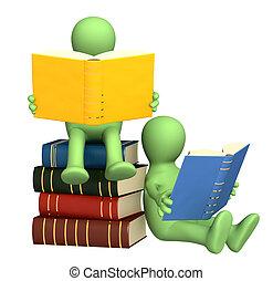 3d, marionetten, lezende , de, boekjes