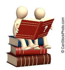 3d, marionetten, lezende , de, woordenboek