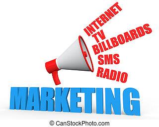 3d marketing concept with megaphone