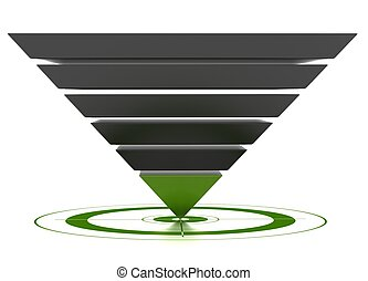 3D marketing conversion funnel used for rate analysis, isolated over a white background.