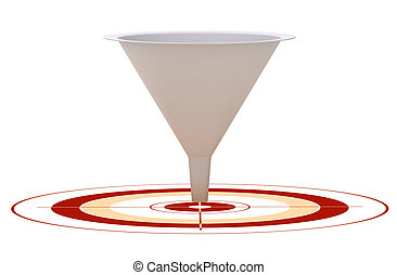 3D marketing conversion funnel used for rate analysis over a red target