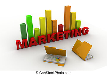 3d Marketing graph and folder