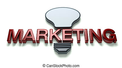 3D Marketing idea word with bulb