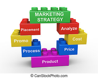 3d marketing strategy building blocks - 3d render of concept...