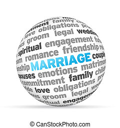 Marriage - 3d Marriage Word Sphere on white background.