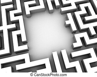 3d maze - 3d rendered illustration of a silver maze