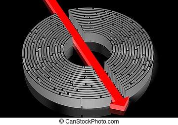 3D maze/ labyrinth concept, arrow