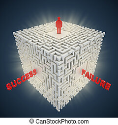 3d maze - success failure concept