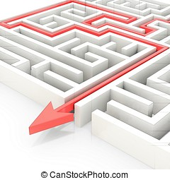 3d maze with red arrow