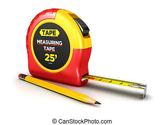 3d measuring tape and a pencil, isolated white background, 3d image