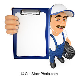 3D Mechanic with a blank clipboard