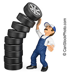 3D Mechanic with a pile of tires falling on top. Work accidents