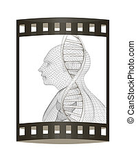 3D medical background with DNA strands and human. 3d render. Film strip.