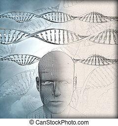 3D medical background with DNA strands and male face with some in sketch phase