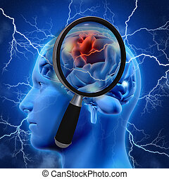 3D medical background with magnifying glass examining brain...