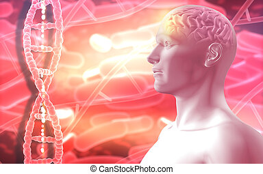 3D medical background with male figure with brain and DNA strands