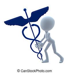 3D Medical Guy - 3D medical guy holding a md symbol on a...