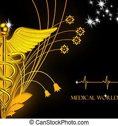 3d medical logo on a colour background