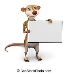 3d Meerkat banner - 3d render of a cartoon meerkat with a...