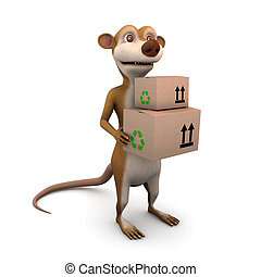 3d Meerkat courier - 3d render of a cartoon meerkat delivers...