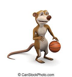 3d Meerkat dribbles the basketball - 3d render of a cartoon...