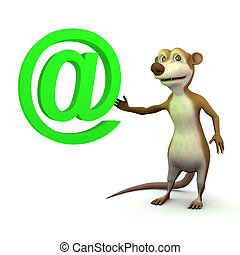 3d Meerkat email - 3d render of a cartoon meerkat with an...