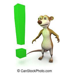 3d Meerkat exclamation mark - 3d render of a cartoon meerkat...