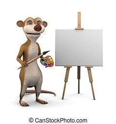 3d Meerkat is an artist - 3d render of a cartoon meerkat...