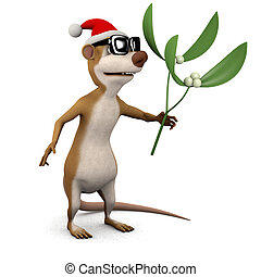 3d Meerkat mistletoe - 3d render of a cartoon meerkat...