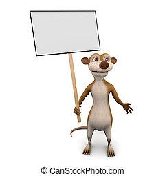 3d Meerkat placard - 3d render of a cartoon meerkat holding...
