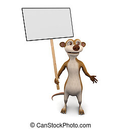 3d Meerkat placard - 3d render of a cartoon meerkat holding...