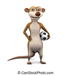 3d Meerkat plays a football - 3d render of a cartoon meerkat...